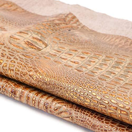 (Italian Hornback Crocodile Embossed Cowhide Leather (1 SQFT, Mocha/Copper))