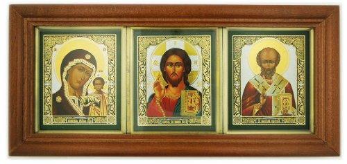 Kazan Icon (Wood Shrine Saint St Nicholas Icon Virgin of Kazan Jesus Christ the Teacher Russian Icon)