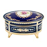 Floral Blue with Gold Accent Oval Metal Jewelry Music Box Plays Somewhere Out There