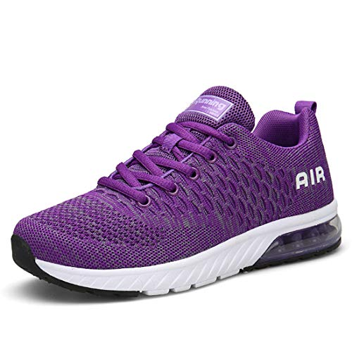 Lewhosy Womens Mens Air Cushion Ultra Athletic Running Shoes Lightweight Breathable Casual Mesh Tennis Sneakers (41/Purple)