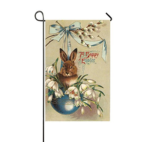 Bowknot Rabbit (Rossne G sun A Happy Easter Rabbit Sits In The Bowknot Hole Garden Flag House Flag Decoration Double Sided Flag 12.5 x 18 Inch)