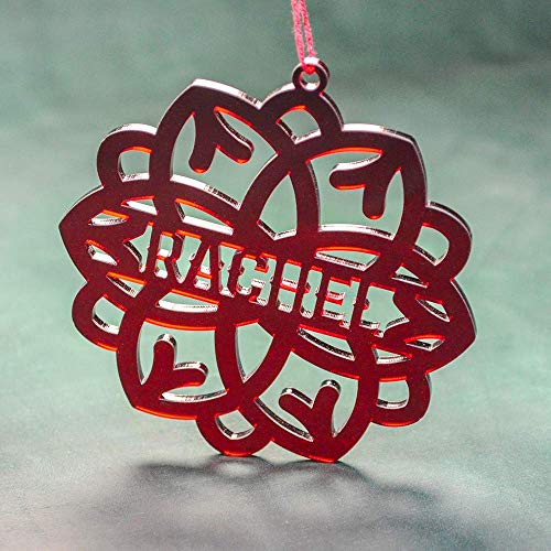 PERSONALIZED ACRYLIC SNOWFLAKE // Snowflake Christmas Tree Decorations - Laser Cut Red Acrylic Snowflake - Custom Snowflake Ornament ()