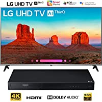 LG 55UK7700PUD 55 Class 4K HDR Smart LED AI UHD TV w/ThinQ (2018 Model) + LG UBK80 4k Ultra-HD Blu-Ray Player w/HDR Compatibility