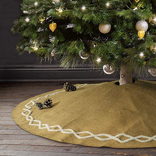 Ivenf Christmas Tree Skirt, 48 inches Large Natural Burlap Jute Plain with Hand-Sewn White Lace Decor, Rustic Xmas Tree Holiday Decorations ()