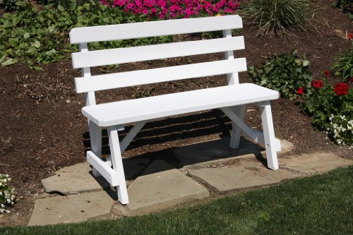 Outdoor 3 Foot Pine Picnic Table Backed Bench ONLY - Painted- Amish Made USA -White