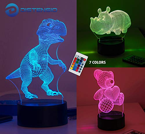 Distensio 3D Night Light Lamp Illusion – 3 Pattern Design (Teddy Bear, Hippopotamus, Dinosaur) Bedside Night Led Lamp with Acrylic Panel for Boys & Girls – 7 Color Changing with Remote Control