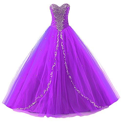 A Festkleider Lang Linie Kleider Tüll Damen Quinceanera Violett Ballkleider Abendkleider wqtYII