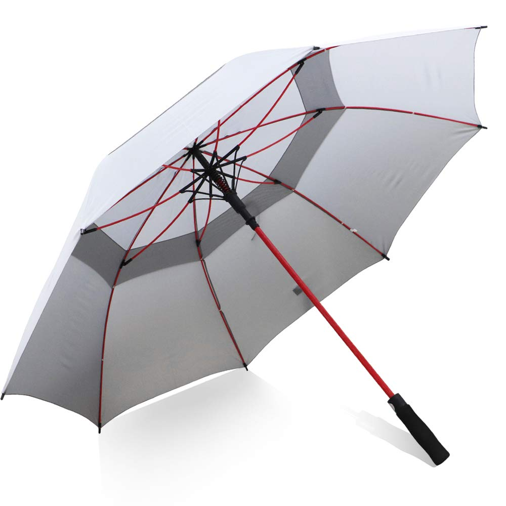ZOMAKE ゴルフ傘 防風 Lサイズ 62/68インチ オーバーサイズ ダブルキャノピー 自動開閉傘 メンズ – 通気式日傘 – スティック傘 ファミリー傘 62 Inch グレー B07KW63FKP