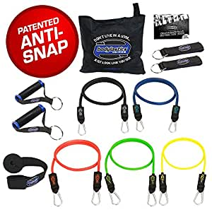 Bodylastics 13 pcsMAX TENSION (134 lbs.) Quick-Clip Resistance Bands System with 5 D.G.S.anti-snap exercise tubes and Heavy Duty components