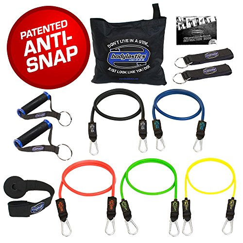 Bodylastics Stackable (12 Pcs) MAX Tension Resistance Bands Sets. This Leading Exercise Band System Includes 5 of Our Best Quality Anti-Snap Exercise Tubes, Heavy Duty Components, and a Travel Bag.