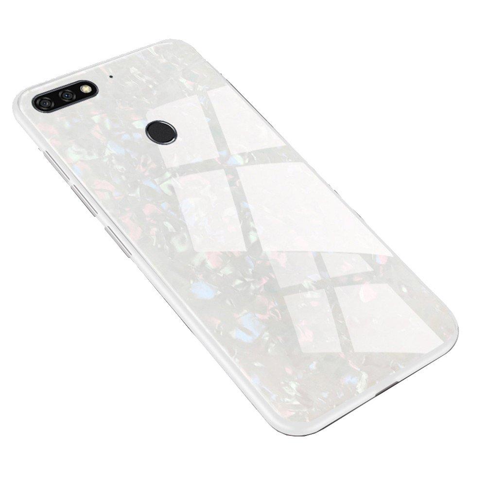Funda Huawei Y7 2018 / Y7 pro 2018, LAGUI Carcasa Muy chulo de Ultrafino, Panel trasero de vidrio y combinació n de marco de TPU suave, Anti-Arañ azos Anti-huella Dactilar a Prueba de Choque. blanco OEM
