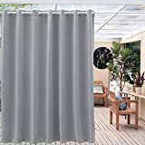 Anjee Outdoor Blackout Curtains Panel Grommet Top Thermal Insulated Blackout Outdoor Drape for Patio/Front Porch Waterproof (100 Inch Wide by 95 Inch Long, 1Panel, Space Gray)