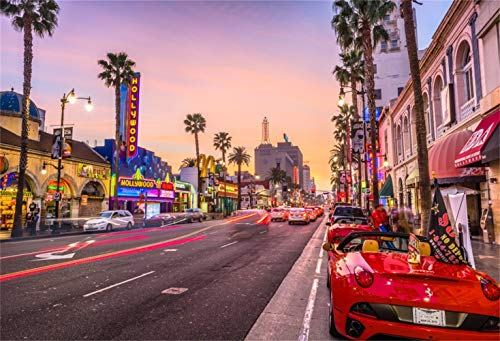 (Laeacco 10x8ft Dusk Hollywood Boulevard Background American City Rush Hour Traffic Vinyl Photography Backdrop Red Cars Street Lamp Personal Artistic Photo Film Video Studio Los Angeles Postcard)