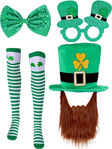 (Chuangdi St. Patrick's Day Accessory Set, 4 Pieces Totally, Include Green Hat, Shamrock Striped Socks, Glittering Bow Tie, Irish Glasses)