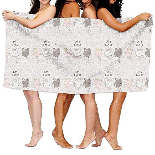 liwkings Cute Cat Lady Lets Dance Bath Towel Adult Microfiber Towel 31 X 51 Inch Bath Sheet ()