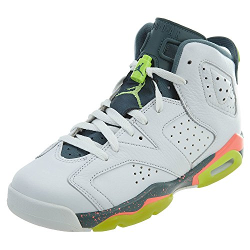 JORDAN Boy's 6 Retro Bg Big Kids Style, White/Ghost Green, 6.5 by Jordan