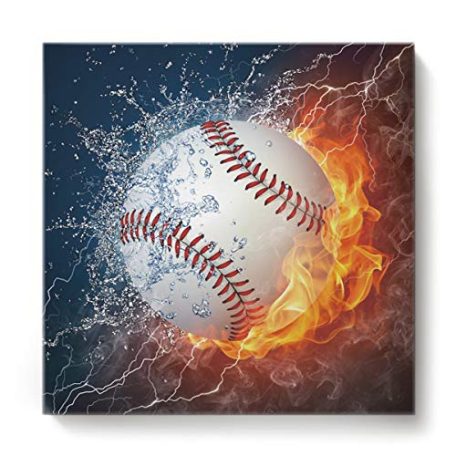 EZON-CH Canvas Wall Art Square Oil Painting Modern Artworks Office Home Decor,Cool 3D Baseball with Water Fire Prints Canvas Artworks,Stretched by Wooden Frame,Ready to Hang,12 x 12 Inch (Definition Votive)