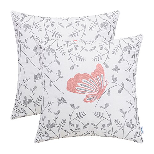 Embroidered Cottage - CaliTime Pack of 2 Cotton Throw Pillow Cases Covers for Bed Couch Sofa Cute Butterfly in Gray Garden Embroidered 18 X 18 inches Coral Pink