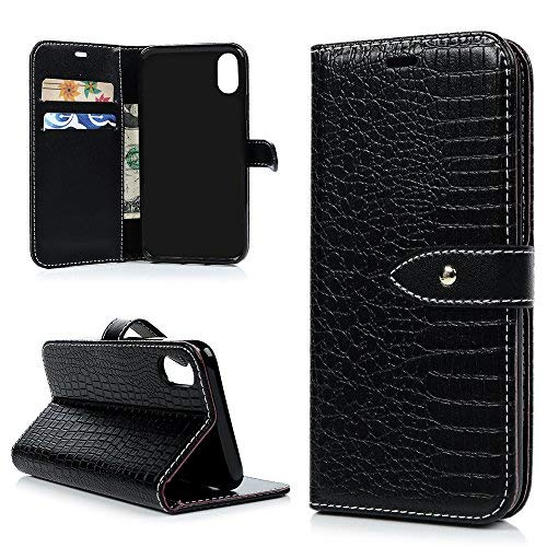 iPhone Xs 5.8 Case, iPhone X Case, Business Style PU Leather Purse Wallet Case Crocodile Lines Soft TPU Inner Bumper Magnetic Folio Flip Card Slots Stand Cover for iPhone Xs 5.8, iPhone X, Black For Sale