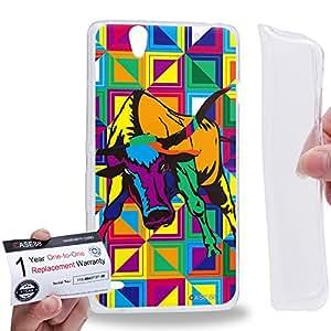 Case88 [Sony Xperia C4 / C4 Dual] Gel TPU Carcasa/Funda & Tarjeta de garantía - Art Drawing Bull Zodiac Taurus Kawaii Abstract Animals