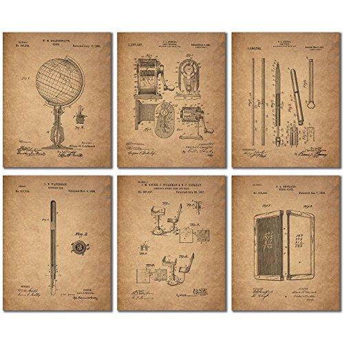 Art Print Framed Pencil - Teacher Patent Wall Art Prints - Set of 6 Vintage Photos