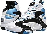 Reebok Men's Shaq Attaq Fashion Sneaker, White/Black/Azzure Steel, 9 M US