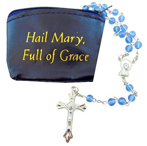 CB Gift Dark Blue Zippered Rosary Case Hail Mary Full of Grace