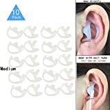 Replacement Earmold Earbud (Left and Right Ear) for Two Way Radio Acoustic Coil Tube Earpiece - Open Ear Insert Earmould Earbuds White, Medium, Soft Silicone Material, 10 Pairs, Lsgoodcare