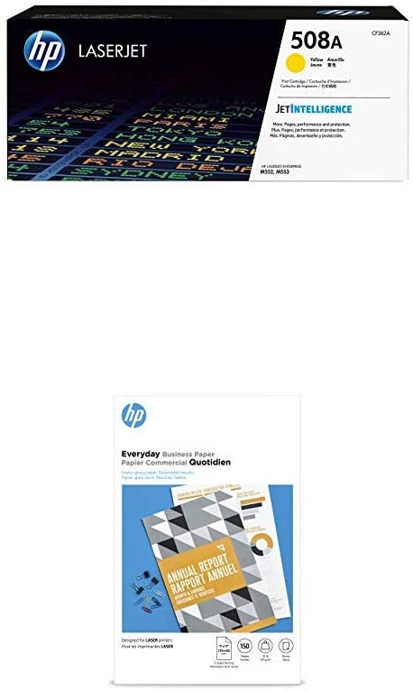 HP 508A Yellow Toner + HP Flyer Paper, Glossy, Laser, 150 Sheets, 11 x 17