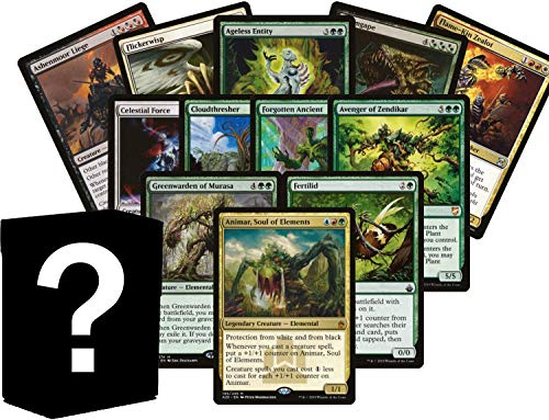 100 Magic Card Elemental Lot - 10 Rares/Mythics, and 2+ Foils! Includes Custom ()