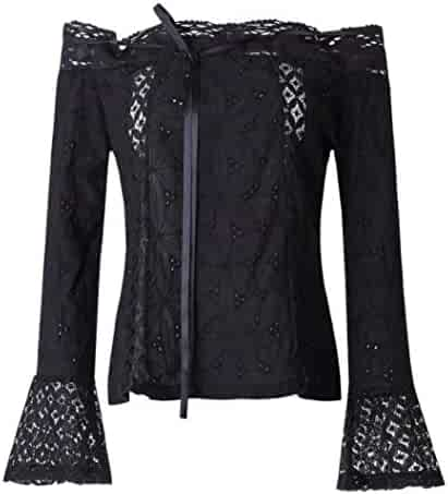 ab11deb49e1f6 Caslia Plus Size Women Off Shoulder Long Sleeve Lace Top Floral Pagoda  Sleeve Loose Blouse Tops
