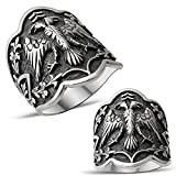 (US) mysilverworld Solid 925 Sterling Silver Double Headed Eagle Dirilis Ertugrul Archer Thumb Men's Ring (15)