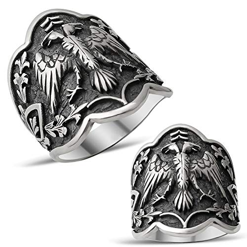 mysilverworld Solid 925 Sterling Silver Double Headed Eagle Dirilis Ertugrul Archer Thumb Men