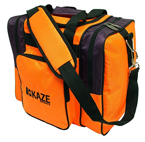 KAZE SPORTS Deluxe 1 Ball Bowling Tote Bag with Two Side Pockets, Orange/Purple For Sale