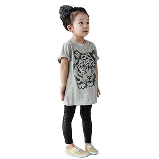 933418fc8 Amazon.com: Weixinbuy Kids Baby Girl Cotton Tiger Printed Short Sleeve  Blouse T-Shirt: Clothing