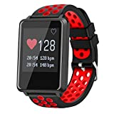Anti-lost Smart Watch, Soft Silicone Sports Watch Bands with Heart Rate Monitor, Waterproof Wristband Compatible with iphones and Android for Birthday Day Men Women Kids Gift. (red)