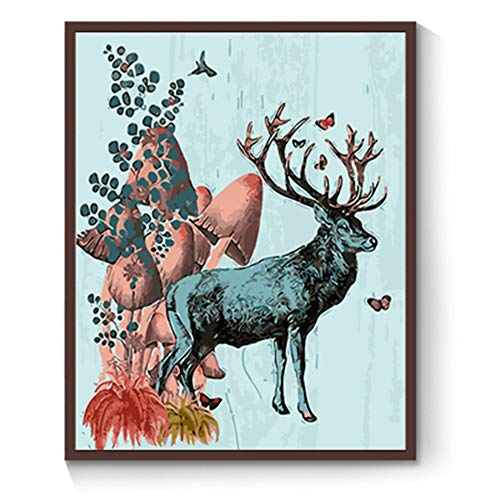 [Wood Frame] DIY Oil Painting, Paint Piece Set Home Decoration Wallpaper Value Gift Painting Deer 16x20 Inch -