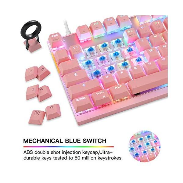 Motospeed Professional Gaming Mechanical Keyboard Rgb Rainbow Backlit 87 Keys Illuminated Computer Usb Gaming Keyboard For Mac Pc Pink