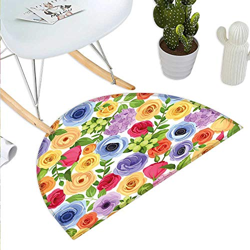Anemone Flower Semicircle Doormat Ornate Colorful Fresh Flowers of Summer Season Forest with Green Leaves Halfmoon doormats H 15.7
