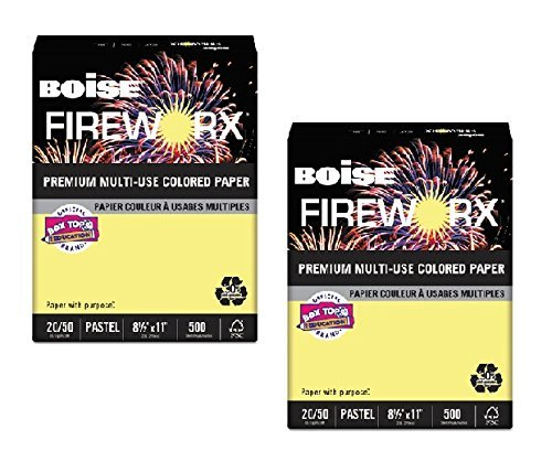 Boise Fireworx Color Copy/Laser Paper, 20 lb, Letter Size (8.5 x 11), Crackling Canary, 500 Sheets (MP2201-CY) - 2-Pack