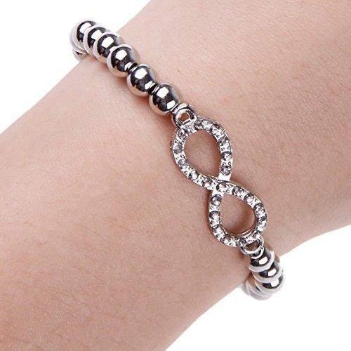 Nueva moda de la joyería oro plata vidrio Rhinestone Pulsera de cadena de infinito plata 8