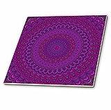 3dRose ct_284102_3 Purple Flower Mandala - Abstract Circular Design Ceramic Tiles,