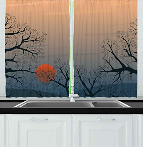 Ambesonne Nature Kitchen Curtains, Sun Rises Between Tree Br