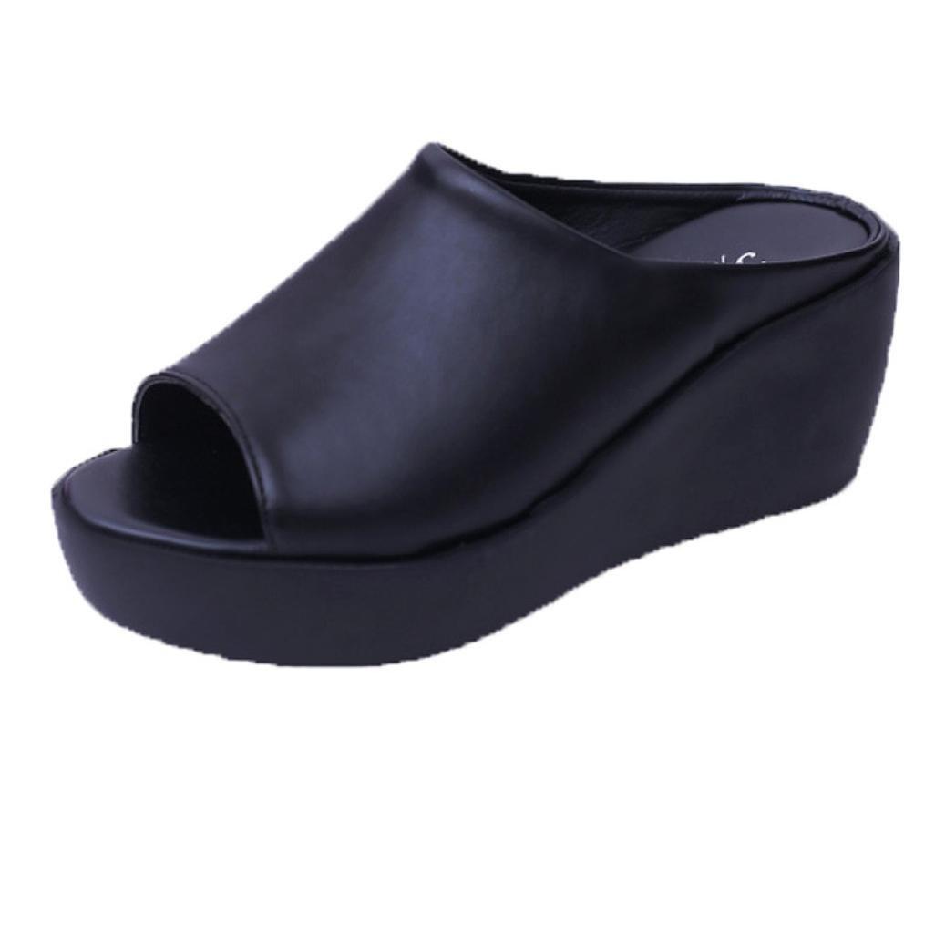 Elevin(TM)Women Summer Fashion Peep Toe High Platform Pumps Bottom Slipper Sandal Shoes (7US, Black)