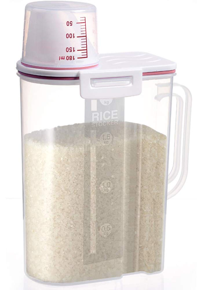 Airtight Rice Storage Container BPA Free 5lb Capacity Cereal Storage Bin wih Measuring Cup for Kitchen Storage Organization(Pink)