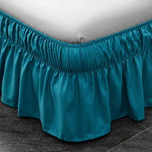 AYASW Bed Skirt 14 Inch Drop Dust Ruffle Three Fabric Sides Wrap Around (Queen or King Teal) Brushed Microfiber Adjustable Elastic