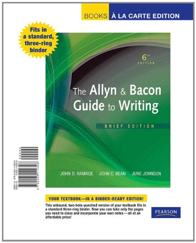The Allyn & Bacon Guide to Writing, Brief Edition, Books a la Carte Edition (6th Edition)