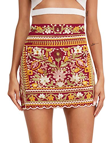 SheIn Women's Casual Floral Embroidered Bodycon Short Mini Skirt