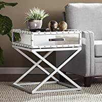 Southern Enterprises Lazio Studded Mirrored End Table, Silver Mirror Finish with Matte Silver Trim