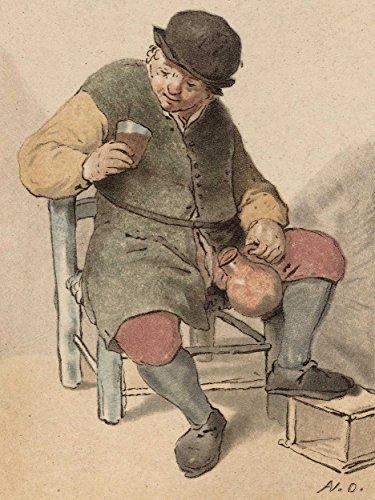 Dutch Jug (Adriaen Van Ostade Dutch Seated Peasant Jug Old Art Painting Poster Print)